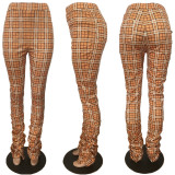 Plus Size All-match Plaid Print Stacked Pants MUL-160