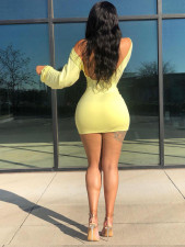 Solid Color Sexy Long Sleeve Backless Mini Dress QSF-5038