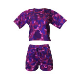 Casual Camouflage Print Short Sleeve Shorts Two Piece Set BDF-8054