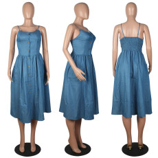 Sexy Casual Sling Sleeveless Denim  Midi Dress MOS-1092