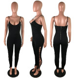 Sexy Lace Up Hollow Skinny Strap Jumpsuits LX-3777
