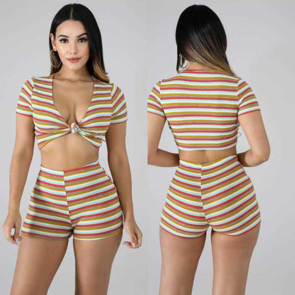 Sexy Striped V Neck Crop Top And Shorts 2 Piece Sets DSF-6056