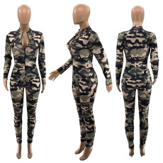 Camouflage Print Hole Long Sleeve Zipper Jumpsuits SZF-9024