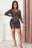 Sexy Sequined Long Sleeve Mini Dress LX-8569