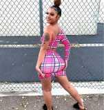 Plaid One Shoulder Mini Skirt Two Piece Sets BLI-2241