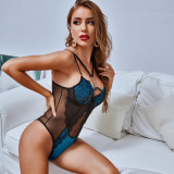 Sexy Mesh Patchwork With Steel-Ring Bodysuit Lingerie MDNF-11464