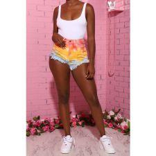 Plus Size Denim Sexy Tie Dye Jeans Shorts HSF-2363