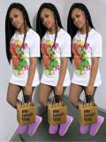 Cartoon Print Short Sleeve O Neck T Shirt QSF-5040