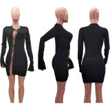 Sexy Hollow Out Chain Long Sleeve Mini Dress TK-6149