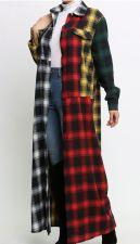 Multicolor Plaid Full Sleeve Long Coat MEM-8327