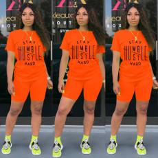 Letter Print T Shirt Shorts Two Piece Sets SHA-6224