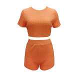 Summer Fashion New Casual Jacquard Short Sleeve Shorts Sports 2 Piece Set TR-1102