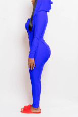 Casual Solid Color Long Sleeve Hooded Button Home Jumpsuit CYAO-8069
