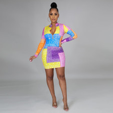 Plus Size 5XL Printed Long Sleeve Mini Bodycon Dress CYA-8866