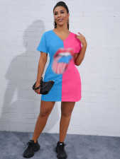 Casual Print V Neck Short Sleeve Loose T Shirt Dress FSL-033