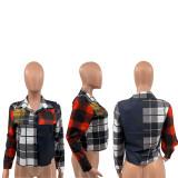 Casual Long Sleeve Plaid Print Shirt Top QSF-5045