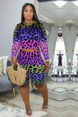 Plus Size Leopard Long Sleeve Two Piece Shorts Set YMF-8073