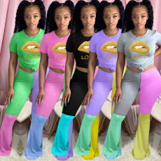 Plus Size Lip Print Short Sleeve Flared Pants 2 Piece Sets YMF-8076