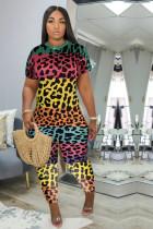 Plus Size Leopard Print Short Sleeve Jumpsuits MF-8072