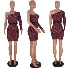 Sexy One Shoulder Mesh Chain Print Sashes Mini Dress YMF-8020