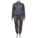 Plus Size Casual Fashion Letter Printed Long Sleeve Pants 2 Piece Set NNWF-7001