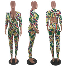 Sexy Printed Deep V Neck Backless Sashes Jumpsuits YMF-8006