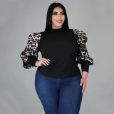 Plus Size Printed Splice Lantern Sleeve Slim-fit T-Shirt Top NNWF-7051
