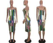 Plus Size Colorful Striped Sexy Slip Midi Dress YMF-8011
