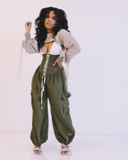 Casual High Waist Lace Up Loose Wide Leg Pants OMY-0002