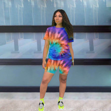 Tie Dye Print T Shirt Shorts Two Piece Sets YMF-8056