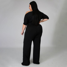 Plus Size Fashion Solid Color Oblique Shoulder Wide-leg Jumpsuit NNWF-7052