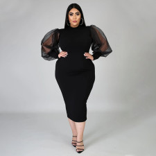 Plus Size Mesh Perspective Splice Sleeve Solid Color Slim Midi Dress NNWF-7020