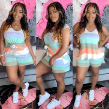 Plus Size Sports Casual Color Striped Print Vest Shorts 2 Piece Set MX-1125
