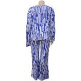 Plus Size Loose Fashion Casual Printed Long Sleeve Pants 2 Piece Set NNWF-7043