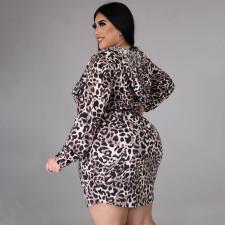 Plus Size Fashion Hooded Leopard Print Slim Long Sleeve Mini Dress NNWF-7049