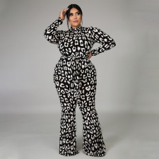 Plus Size Fashion Casual Print Long Sleeve Jumpsuits NNWF-7010