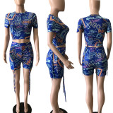 Fashion Letter Printed Short Sleeve Shorts Two Piece Set BDF-21030