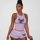 Pink Letter Print Tank Top Shorts 2 Piece Sets TE-4199