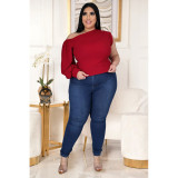 Plus Size Solid One Shoulder Tops ASL-7012