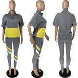 Casual Patchwork Short Sleeve 2 Piece Pants Set LM-8216