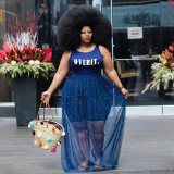 Plus Size Mesh Patchwork Sleeveless Pearls Maxi Dress WAF-7144