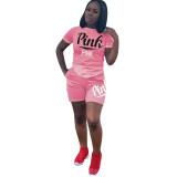Plus Size Pink Letter Print T Shirt Shorts Two Piece Sets DYF-1057