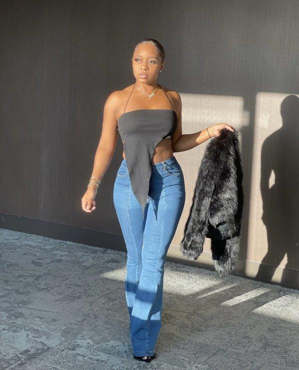 Plus Size Denim Patchwork Flared Jeans LX-6883
