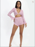 Sexy Long Sleeve Two Piece Shorts Set BN-9166