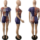 Plus Size Stripe Print Short Sleeve Two Piece Sets WAF-7142