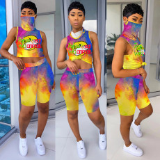 Tie Dye Print Sleeveless Mask One Piece Top+Shorts 2 Piece Suits LSD-8711
