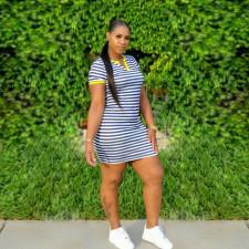Casual Striped V Neck Short Sleeve Mini Dress LSD-8877
