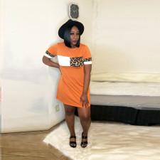 Leopard Patchwork Loose Short Sleeve Mini Dress LSD-8847