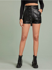 Casual PU Leather Shorts With Belt LSD-8578