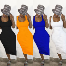 Plus Size Sexy Hollow Out Sleeveless Ruched Midi Dress LSD-8696